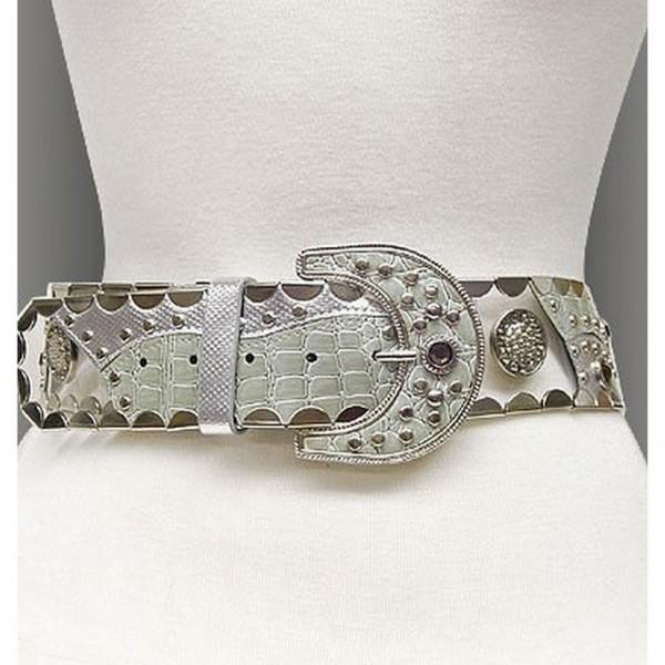 Belt - Studed Belt W/Clear PVC + PU leather - Like - Silver - BLT-TO40168SV
