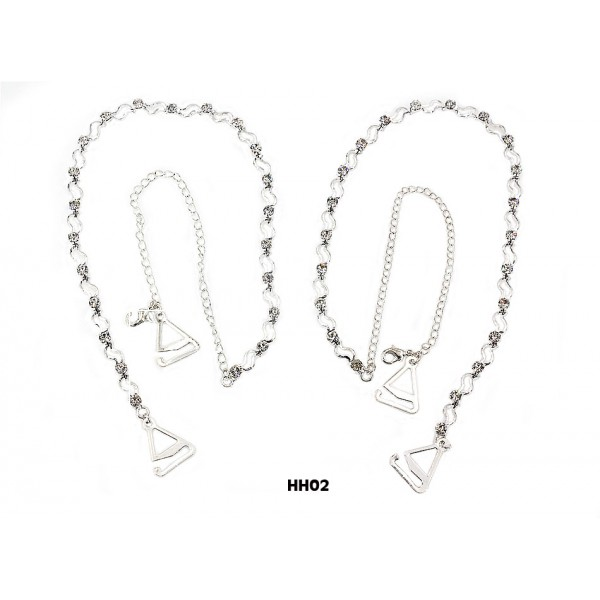 Bra Straps - Wavey Link With Clear Rhinestones - BS-HH02