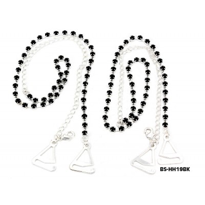 Bra Straps - Single Line Crystal Chain Strap - Black - BS-HH19BK