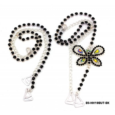 Bra Straps - Single Line w/ Butterfly Charm - Black - BS-HH19BUTBK