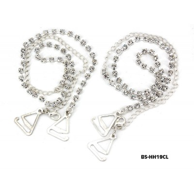 Bra Straps - Single Line Crystal Chain Strap - Clear -BS-HH19CL