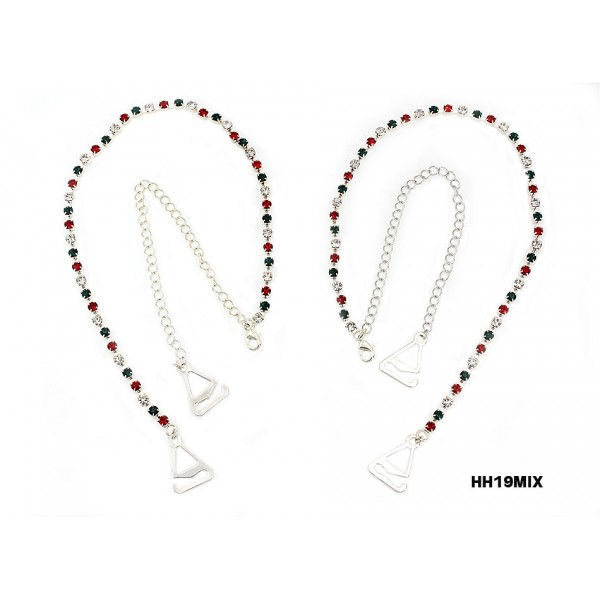 Bra Straps - Single Line Crystal Chain Strap - Red & Green - BS-HH19XMS
