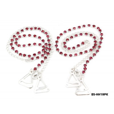 Bra Straps - Single Line Crystal Chain Strap - Pink - BS-HH19PK
