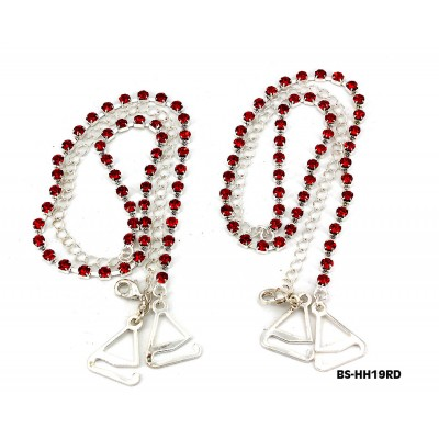Bra Straps - Single Line Crystal Chain Strap - Red - BS-HH19RD