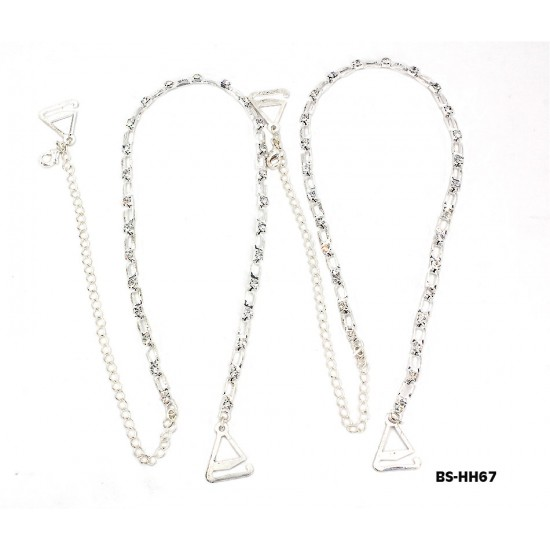Bra Straps - Square Link With Clear Rhinestones - BS-HH67