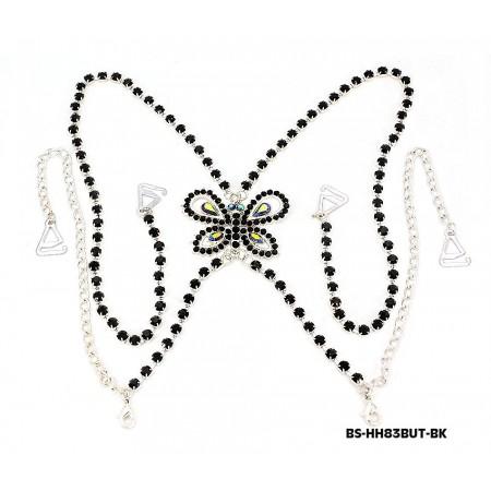 Bra Straps - Single Line w/ Rhinestone Butterfly Charm Cross-over on Back Side - Black - BS-HH83BUTBK