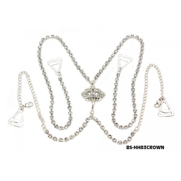 Bra Straps - Crystal Single Chain w/ Crown Charm - Halter Style - Clear - BS-HH83CWNCL