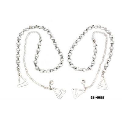 Bra Straps - Silver Single Line w/ Hearts - BS-HH88