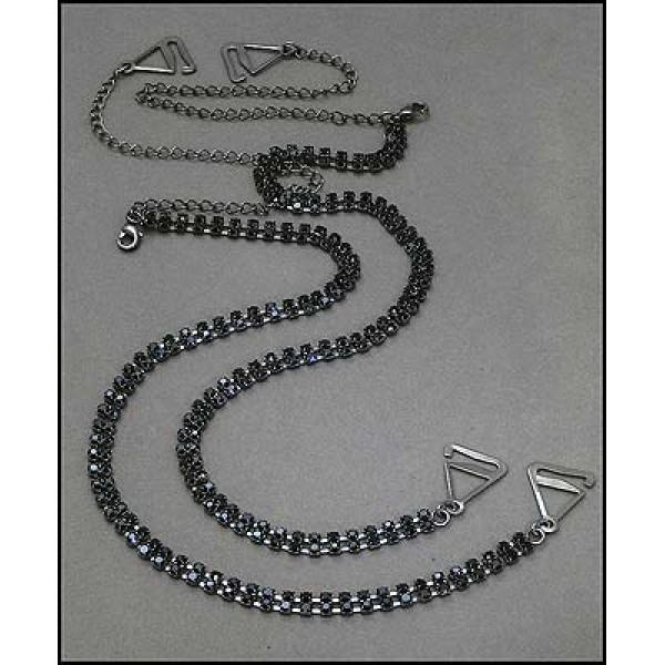Bra Straps - Two-row Crystal Chain Strap - Black - BS-HH118BK