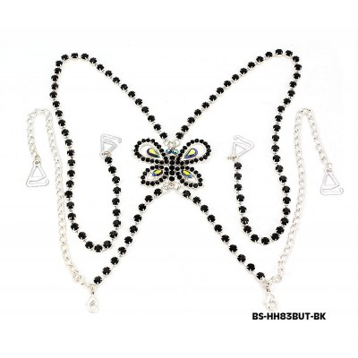 Bra Straps - Single Line w/ Rhinestone Butterfly Charm Cross-over on Back Side - Black - BS-HH83BUTBK