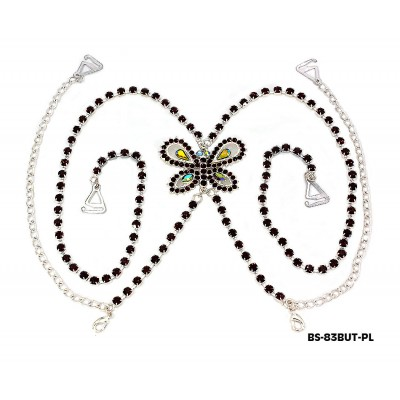 Bra Straps - Single Line w/ Rhinestone Butterfly Charm Cross-over on Back Side - Purple - BS-HH83BUTPL
