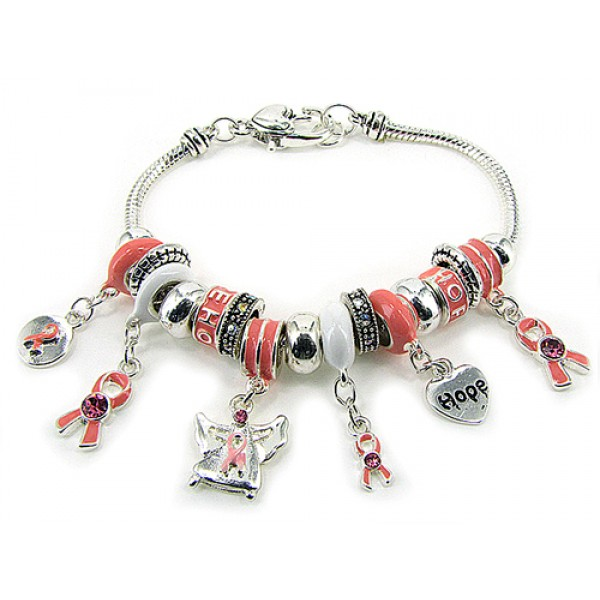 Charm Bracelet - Pink Ribbon Charms Bracelet - Pink