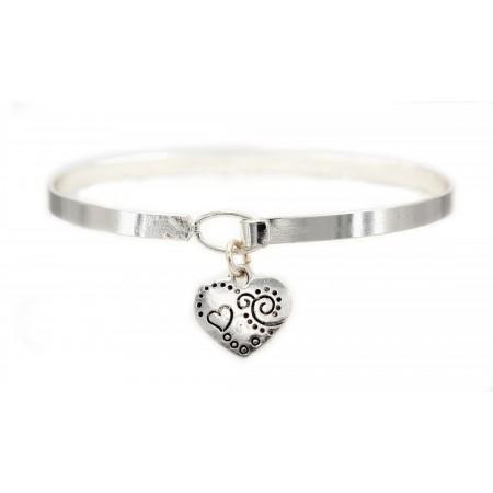 Charm Bracelets - Heart Charm Bangle Bracelets - BR-B9919LATS