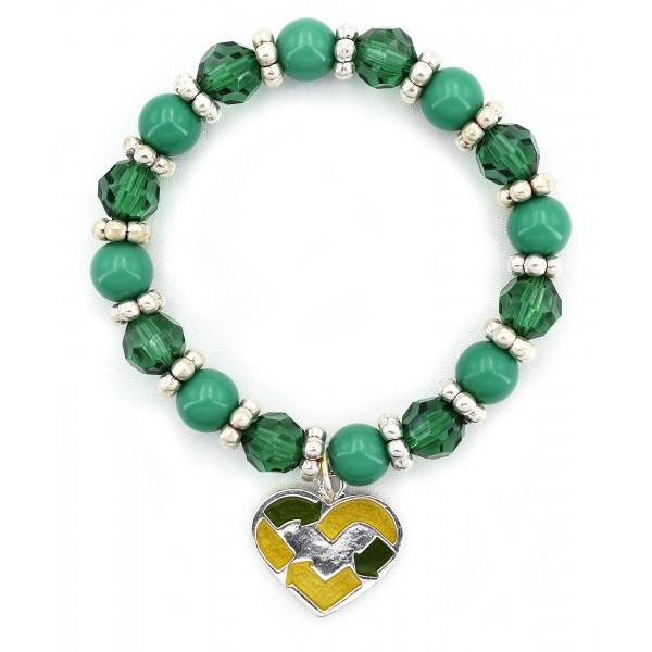 Go-Green Strectchable Bracelets w/ Heart Charm  - BR-OB00058ASGRN