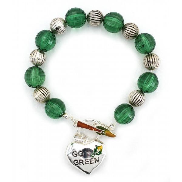 Go-Green Strectchable Bracelets w/ Heart Charm  - BR-OB00060ASGRN