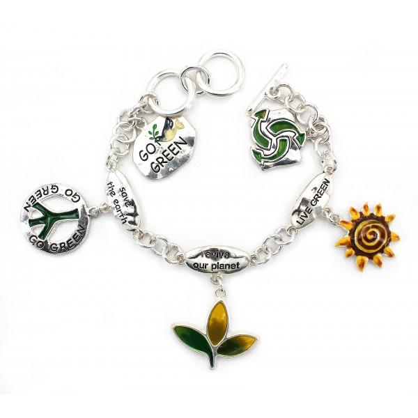 Multi Charm Chain Bracelets - BR-OB00066ASGRN