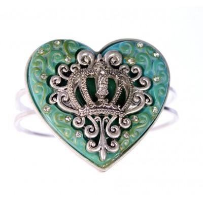 Hinge Bracelets - Heart Charm w/ Crown Accent - BR-OB02153TQS