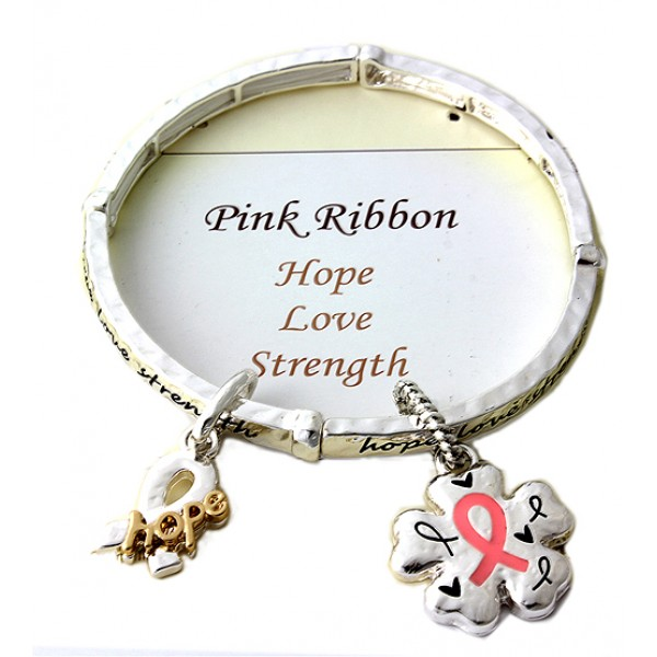 Stretchable Charm Bracelet - Pink Ribbon - Pink