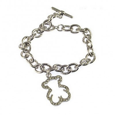 T-Bear Charm w/ Crystals Bracelet - Rhodium Plating - Clear - BR-0456CL