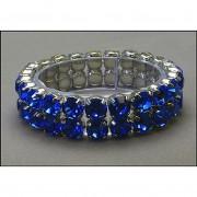 2-Line Swarovski Crystal Stretchable Bracelet - Blue - BR-39SS-S2BL