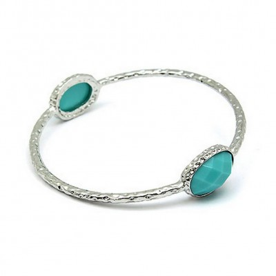 Bangle Bracelets w/ Coral Like Stones - Turquoise - BR-81189TQ