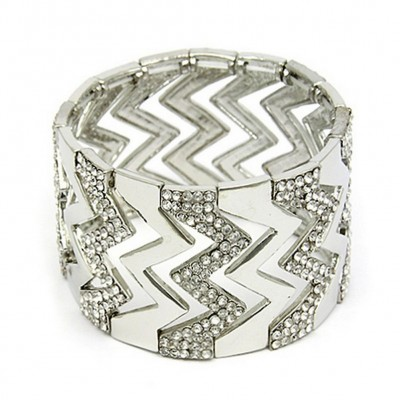 Stretchable Bracelets - Rhinestone Paved Zigzag - Clear - BR-81229CR
