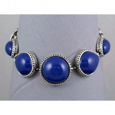 Designer Marble Stone Like Bracelet - w/ Toggle Closure - Silver Blue - BR-ACQB2071SC