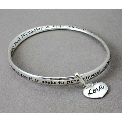 Religious Theme Bangle - Single Twist w/ Love Heart Charm - BR-B8966LATS