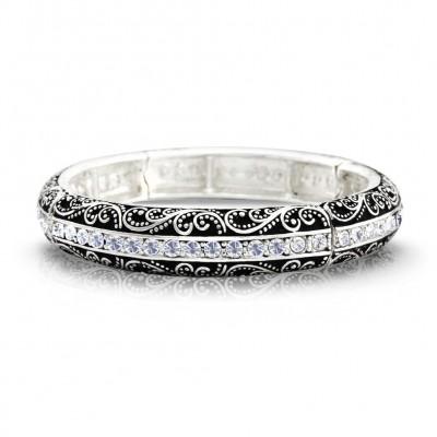 Western Style Stretchable Bracelet w/ Rhinestones - Vintage Look Embossed - BR-B9054LASCY