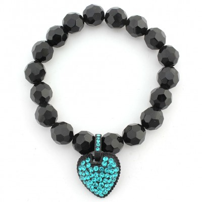 Acrylic Beaded Stretchable Bracelet w/ Austrian Crystal Heart Charm - AQ Blue - BR-CQB2014C