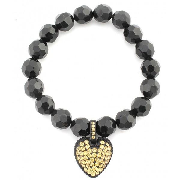 Acrylic Beaded Stretchable Bracelet w/ Austrian Crystal Heart Charm - TAUPEZ - BR-CQB2014G
