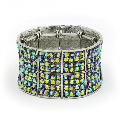 Rhinestone Stretchable Bracelets Block Double-Row - Purple - BR-KH10203PL