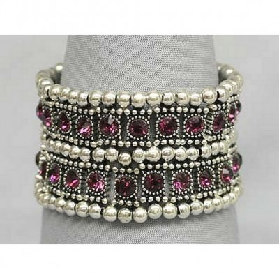 Stretchable Rhinestone Bracelets - Double-Row w/ Bali Beads - Purple - BR-KH11255PL