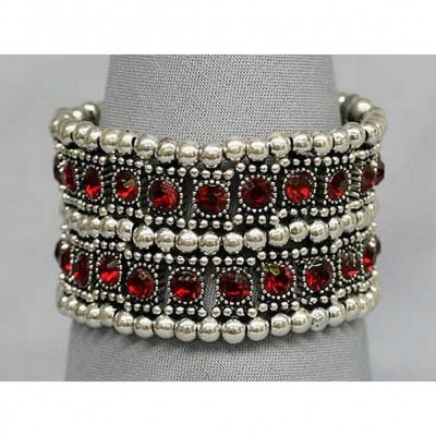 Stretchable Rhinestone Bracelets - Double-Row w/ Bali Beads - Red - BR-KH11255RD