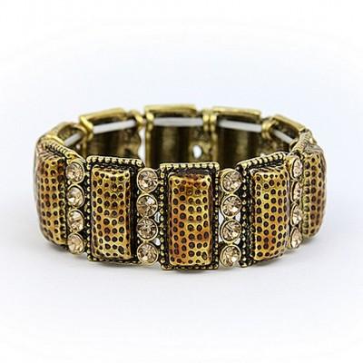 Stretchable Bracelets - Casting w/ Rhinestones - Gold - BR-KH16084GD