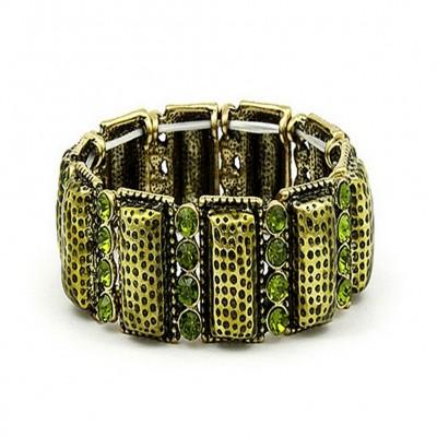 Stretchable Bracelets - Casting w/ Rhinestones - Green - BR-KH16084GN
