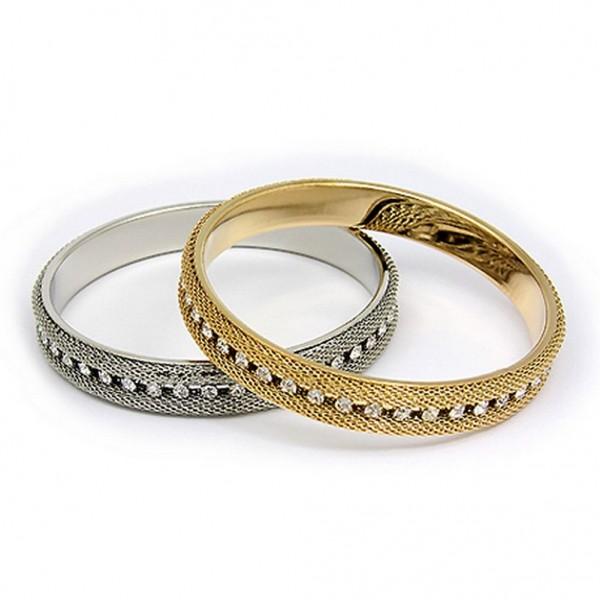 Mesh Bangle Bracelets w/ One Line Clear Rhinstone - BR-MB002GDRH