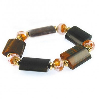 Semi Precious Stretchable Bracelet - Gold Tone/Brown - BR-MB7024GB