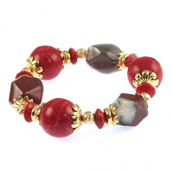 Semi Precious Stretchable Bracelet - Gold Tone/Coral - BR-MB7025GCR