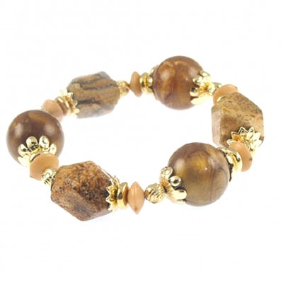 Semi Precious Stretchable Bracelet - Gold Tone/Light Brown - BR-MB7025GLB