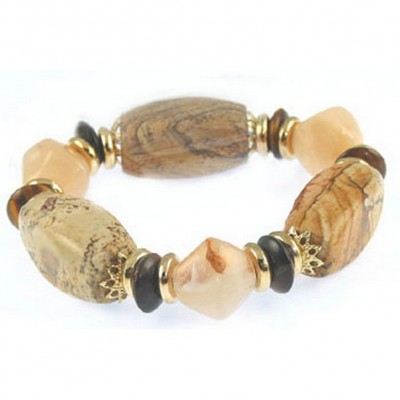 Semi Precious Stretchable Bracelet - Gold Tone/Natural - BR-MB7026GN