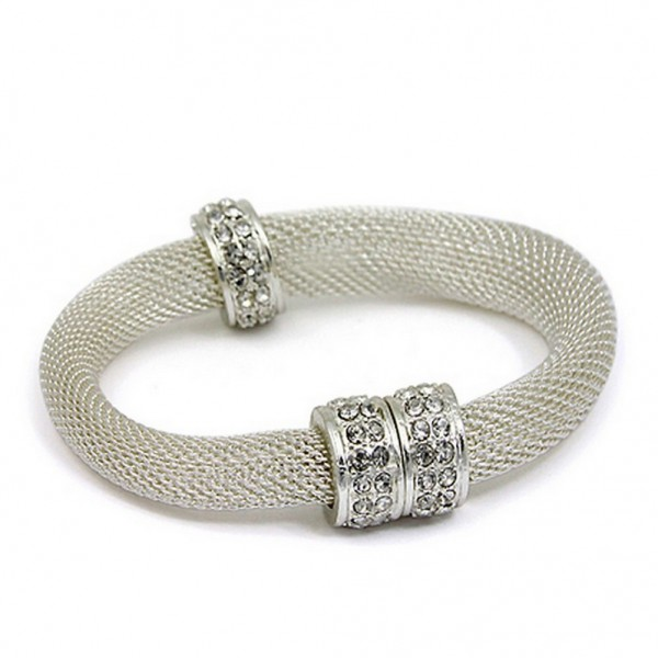 Mesh Strap Bracelets w/ Rhinestone Rings - Silver - BR-MCB150-3SP