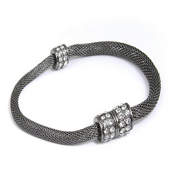 Mesh Strap Bracelets w/ Rhinestone Rings - Rhodium - BR-MCB150-5RH