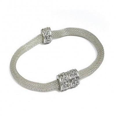 Mesh Strap Bracelets w/ Rhinestone Rings - Silver - BR-MCB150-5SV