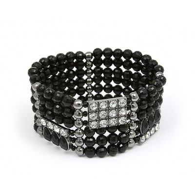 Stretchable Bracelets - Beaded & Rhinestone - Black  - BR-MCB249BK