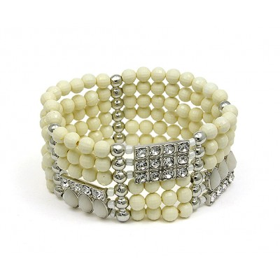 Stretchable Bracelets - Beaded & Rhinestone - White - BR-MCB249WH