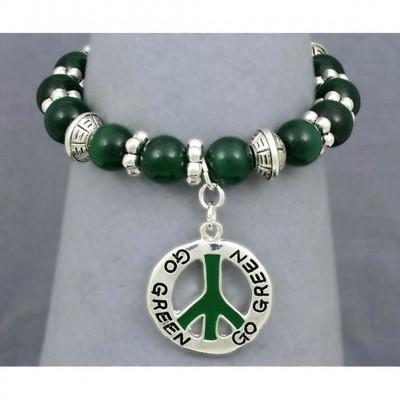Go-Green Strectchable Bracelets w/ Peace Charm - BR-OB00055ASGRN