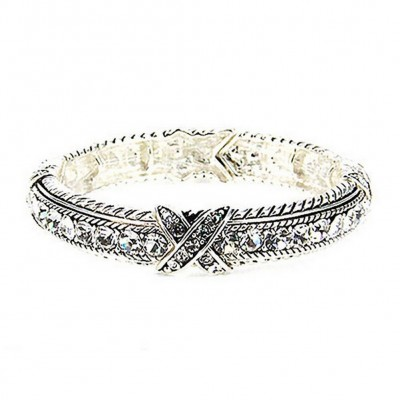 Western Style - Rhinestones Stretchable Bracelets - Clear - BR-OB00989ASCRY