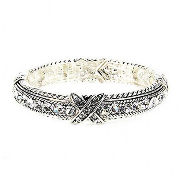 Western Style - Rhinestones Stretchable Bracelets - Clear - BR-OB00989ASCRY
