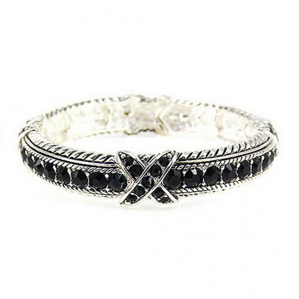 Western Style - Rhinestones Stretchable Bracelets - Black - BR-OB00989ASJET